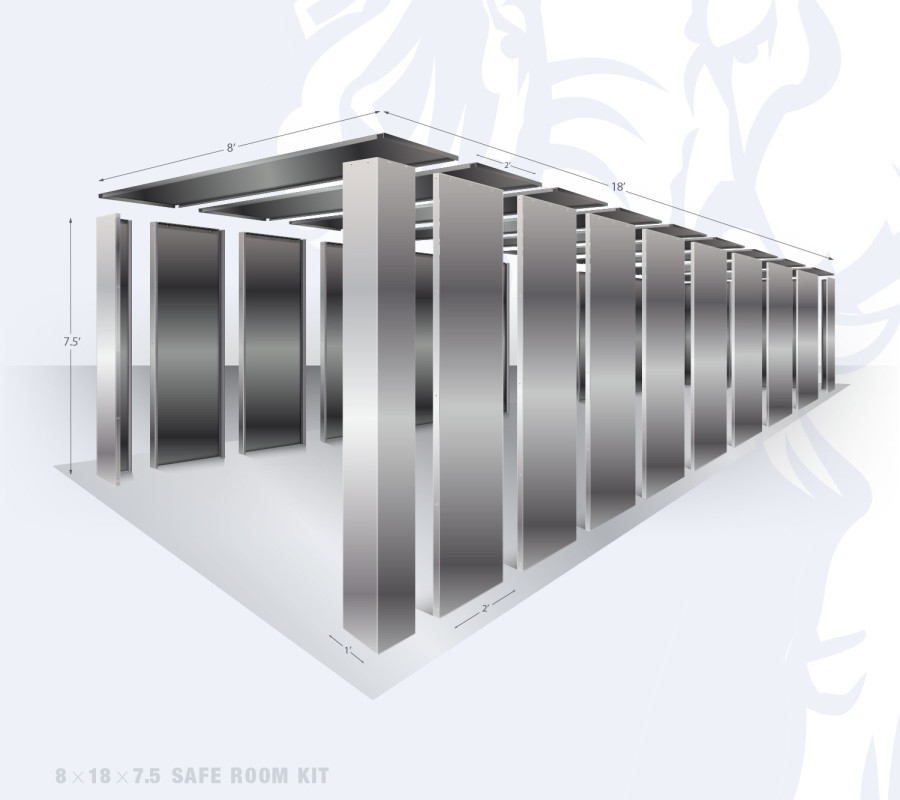 8' x 18' bolt together security shelter by Elephant Safe Rooms