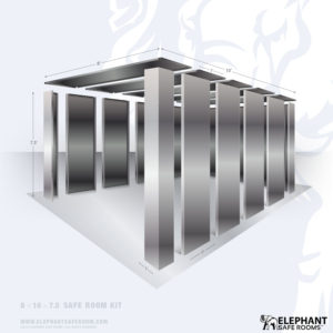 8' x 10' bolt together security shelter by Elephant Safe Rooms with plate steel safe room doors