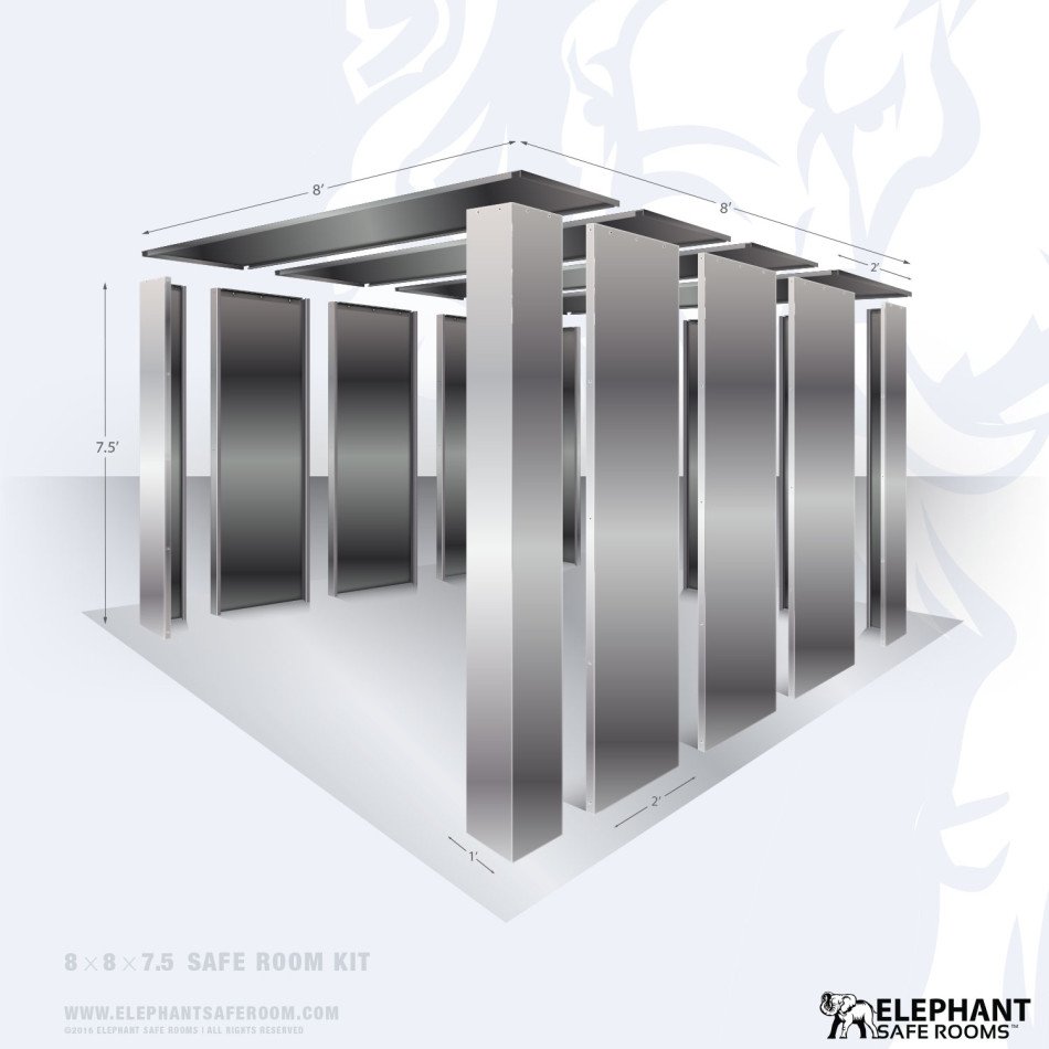 8' x 8' bolt together security shelter by Elephant Safe Rooms