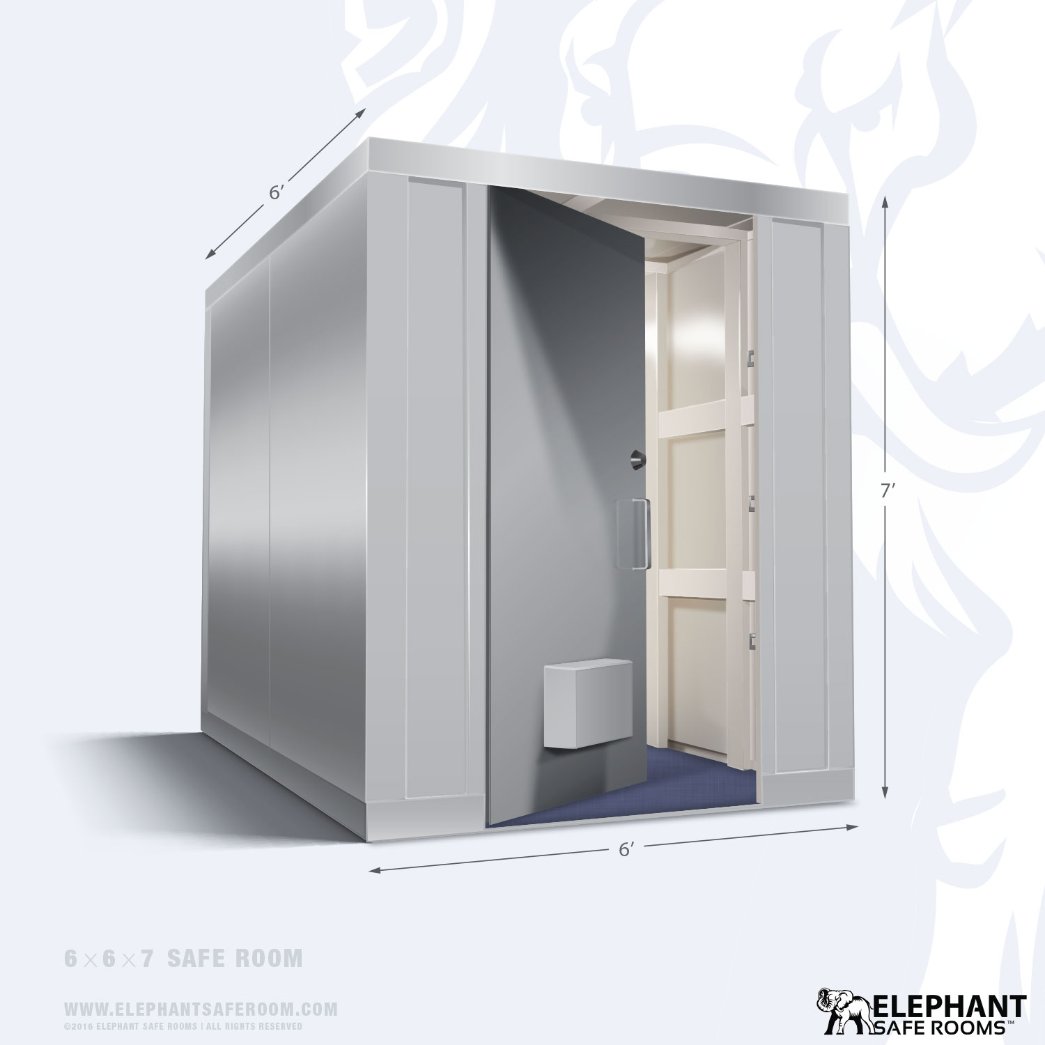 Elephant safe room with dimensions 6 x 6
