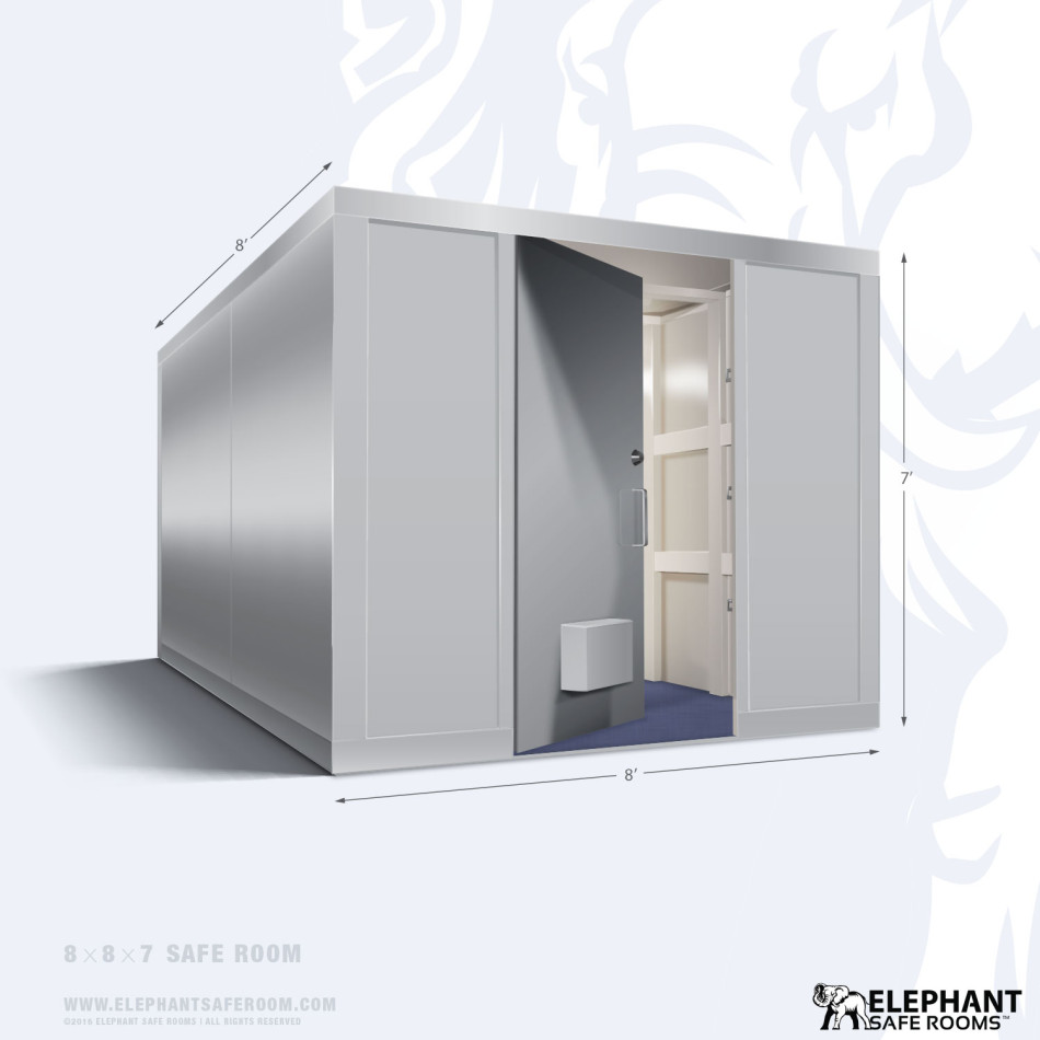 Elephant safe room with dimensions 8 x 8