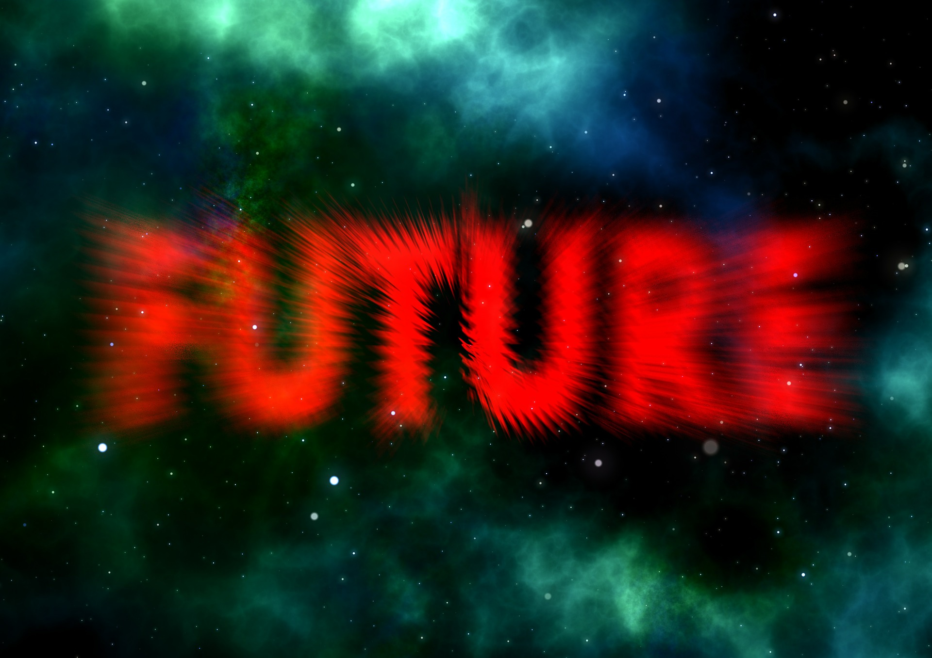 The FUTURE in red in space