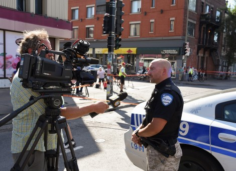 Chicago Police Officer Being Interviewed on Camera
